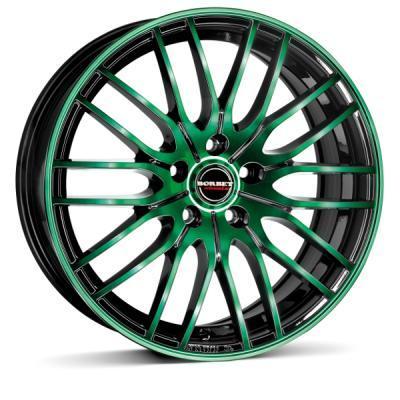"alu kola BORBET black green glossy black green glossy 7x17"" 4x100 ET38 64"