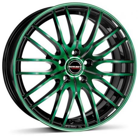 """alu kola BORBET CW4 black green - černé/zelené leštěné čelo 8x18"""" 5x112 ET48 72,5"""